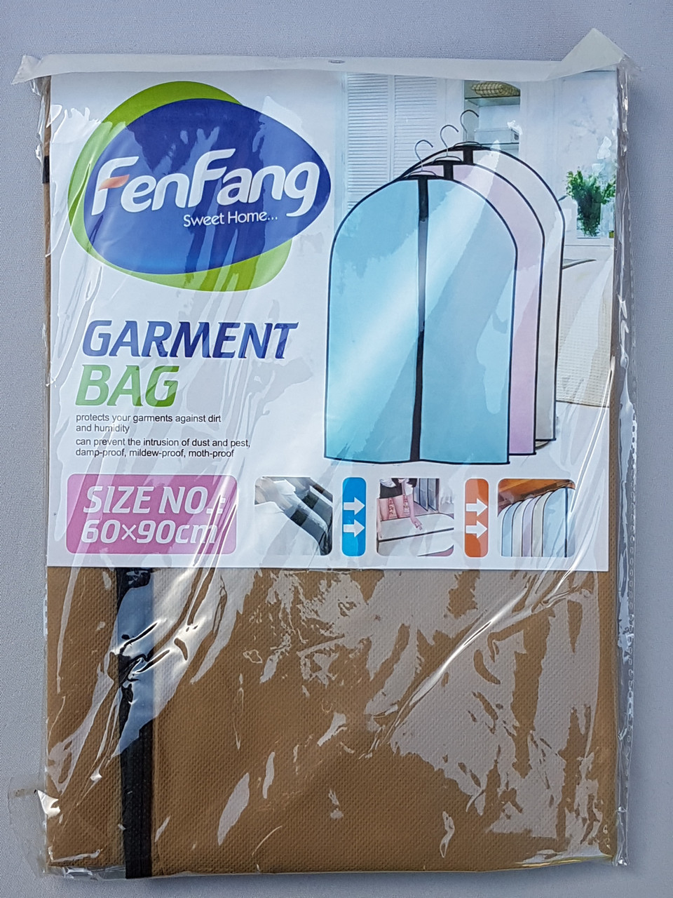 Чехол для хранения одежды флизелиновый на молнии коричневого цвета, размер 60*90 см