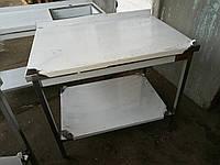 Стол производственный из нержавеющей стали с полкой и бортом 600х500х850, фото 1