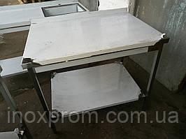 Стол производственный из нержавеющей стали с полкой и бортом 600х500х850