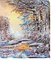 """Набор для вышивки бисером на натуральном художественном холсте """"Хрустальная зима"""""""