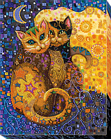 """Набор для вышивки бисером на натуральном художественном холсте """"Кошачий поцелуй"""""""