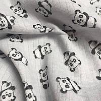 Муслин для детских пеленок панды на сером №2-3