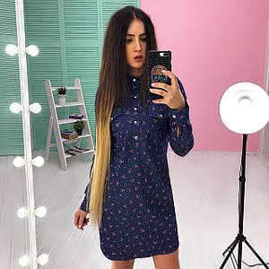 Женское джинсовое платье с принтом
