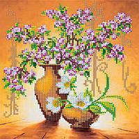 Схема для вышивки бисером на натуральном художественном холсте Весенние цветы
