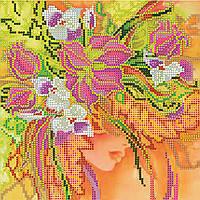 Схема для вышивки бисером на натуральном художественном холсте Девушка Осень