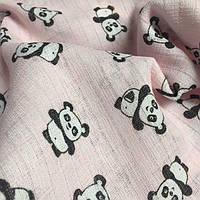 Муслин для детских пеленок панды на розовом № 2-4