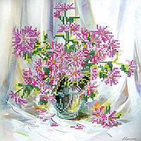 Схема для вышивки бисером на натуральном художественном холсте Хризантемки