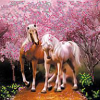 Схема для вышивки бисером на натуральном художественном холсте Влюбленные лошадки
