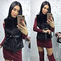 Женская меховая жилетка под норку с кожаными вставками, р-42-48