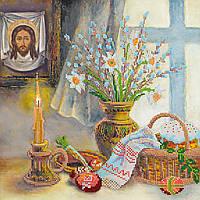 Схема для вышивки бисером на натуральном художественном холсте Пасхальный сюжет2