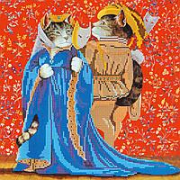 Схема для вышивки бисером на натуральном художественном холсте Коты на маскараде
