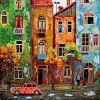 Схема для вышивки бисером на натуральном художественном холсте Цветной городишко