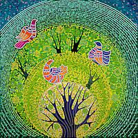 Схема для вышивки бисером на натуральном художественном холсте Райские птички