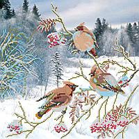 Схема для вышивки бисером на натуральном художественном холсте Свиристели прилетели