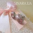 Cерьги гвоздики серебро с розовым камнем - Серебряные пусеты - Серебряные серьги гвоздики, фото 4