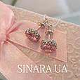 Cерьги гвоздики серебро с розовым камнем - Серебряные пусеты - Серебряные серьги гвоздики, фото 6