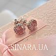 Cерьги гвоздики серебро с розовым камнем - Серебряные пусеты - Серебряные серьги гвоздики, фото 3