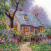 Схема для вышивки бисером на натуральном художественном холсте Сказочный домик