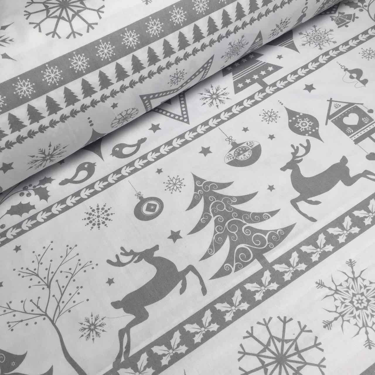 """Новогодняя ткань """"Merry Christmas"""" с узором серого цвета № 758"""