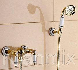 Золотой смеситель Aquaroom душевая стойка в ванную кран в раковину для умывальника