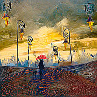Схема для вышивки бисером на натуральном художественном холсте Под зонтом