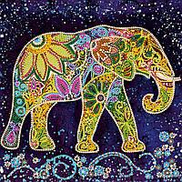 Схема для вышивки бисером на натуральном художественном холсте Индийский слон