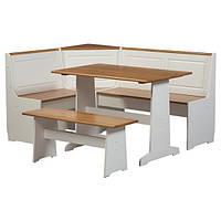 Обеденный стол с угловым сегментом и скамьей