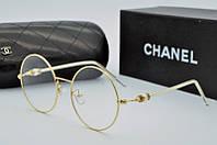 Круглая оправа женская для очков Chanel в золотом цвете
