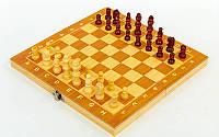 Шахматы, шашки, нарды 3 в 1 деревянные, фигуры-дерево, р-р 24x24см. (W7721)