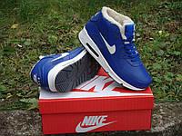 """Зимние кроссовки на меху Nike Air Max 90 Fur """"Blue White"""" - """"Синие Белые"""" (Копия ААА+), фото 1"""