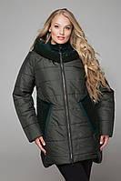 Женская модная зимняя теплая куртка больших размеров 598 / размер 52-64 / цвет зеленый