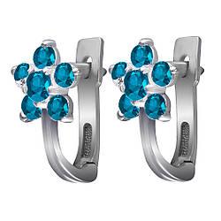 Сережки зі срібла з куб. цирконіями E019b