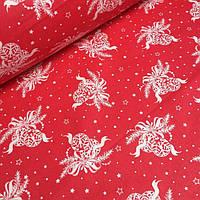 Ткань бязь с новогодними игрушками на красном фоне №760