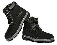 Мужские зимние ботинки на тракторной подошве эко-нубук (171-1)