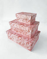 Прямоугольный набор интерьерных коробок ручной работы с реалистичным розовым мехом