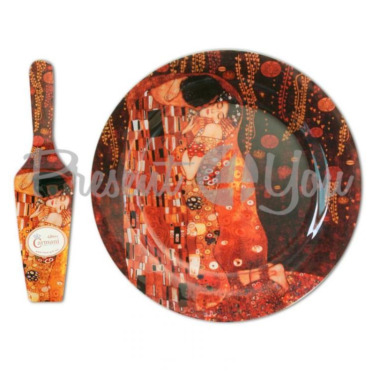Стеклянная тарелка-тортовница с лопаткой Г.Климт «Поцелуй» Carmani, d-30 см (198-1701)
