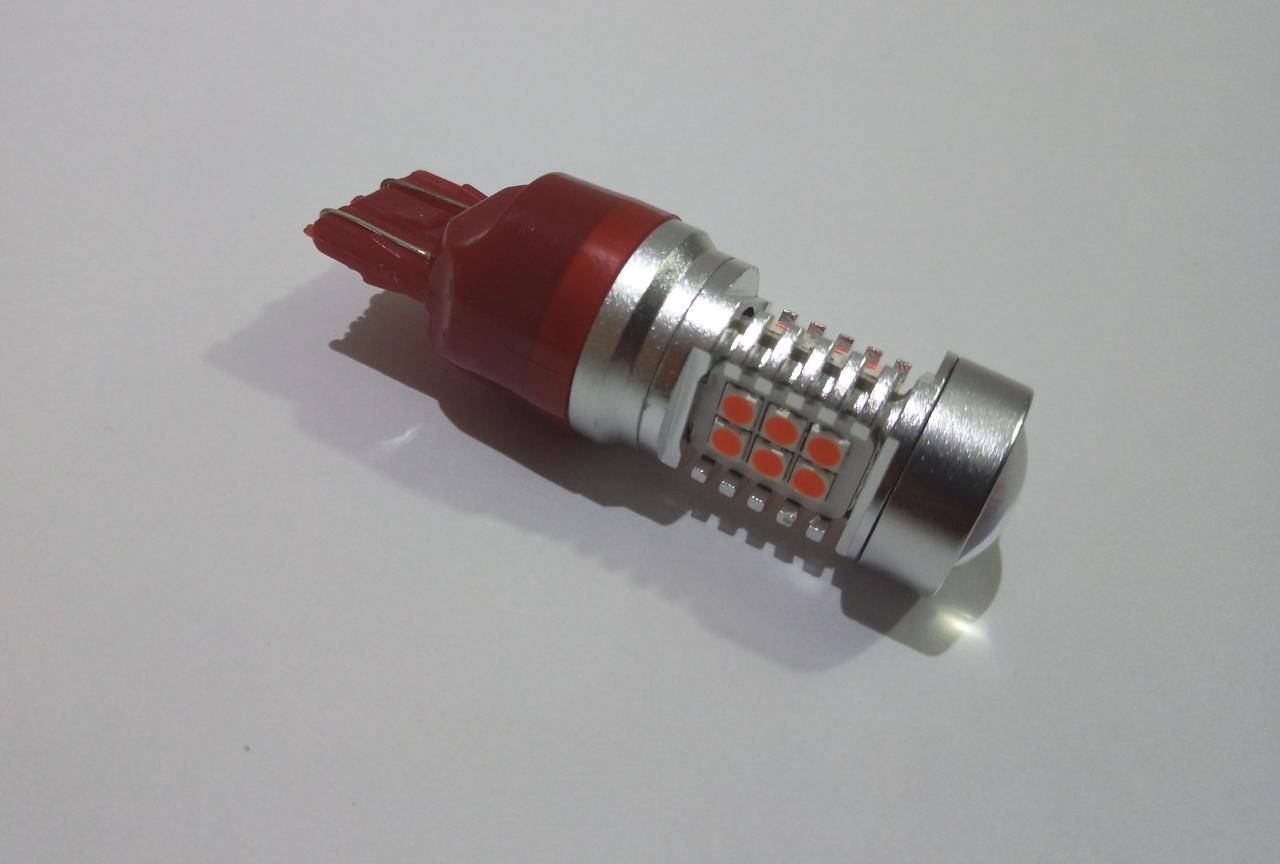 Автолампа LED, T20, W21/5W, 7443, 12V, 21 SMD 3535, Красная