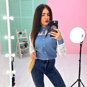 Стильная джинсовая рубашка с гипюром