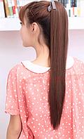 Женский симпатичный длинный прямой хвост из искусственных волос, цвет - темно-русый