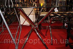 Стол обеденный хромированный DS-6045, обеденный стол, столешница закругленная, стеклянная, 90х90х74см, фото 2