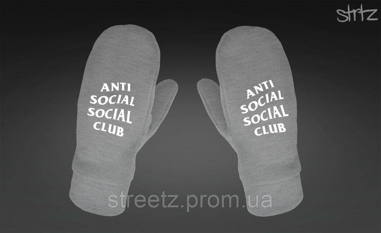 Варежки Anti Social Social Club ASSC Fleece Mittens серые