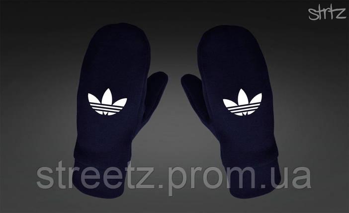Варежки Adidas Originals Fleece Mittens темно синие, фото 2