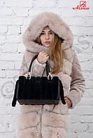 Кожаная сумка с натуральным мехом норки Черный