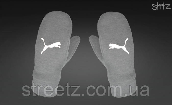 Варежки Puma Fleece Mittens серые, фото 2