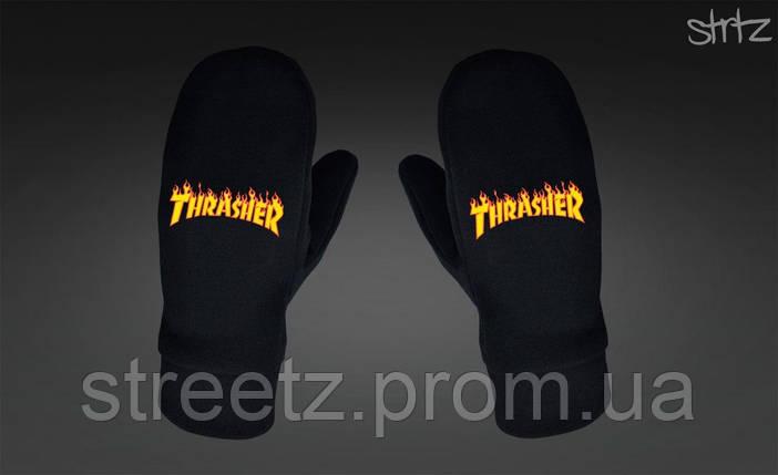 Варежки Thrasher Fleece Mittens черные, фото 2