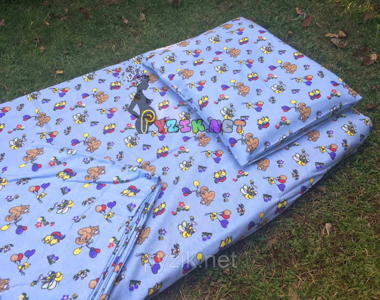 Постельный набор в детскую кроватку Байка (3 предмета) Слоники голубой