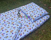 Постельный набор в детскую кроватку Байка (3 предмета) Слоники голубой, фото 1
