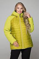 Женская теплая куртка больших размеров 557 / размер 52-68 / цвет горчица