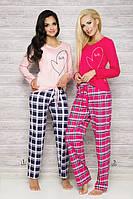 Женская пижама с клетчатыми штанами Ida 2121 Taro розовая, малиновая