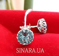 Серебряные серьги гвоздики под Аквамарин - Пусеты с голубым камнем